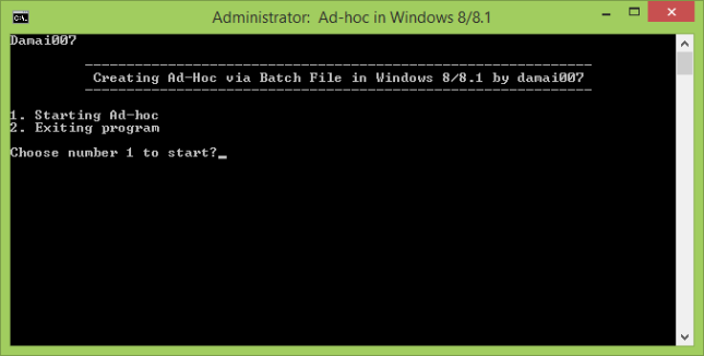 Ad-Hoc via Batch File in Windows 8/8.1